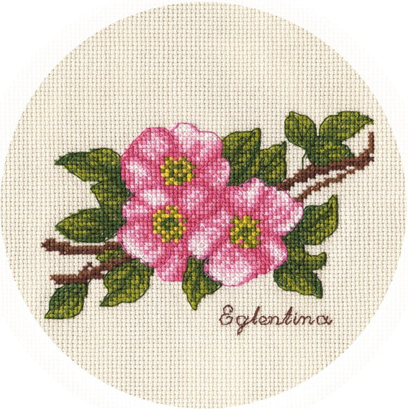 Small Branch of Wild Rose Cross Stitch Kit by PANNA