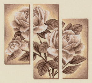 Rose Triptych Cross Stitch Kit by PANNA