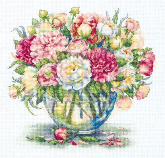 Luxury Peonies Cross Stitch Kit by PANNA