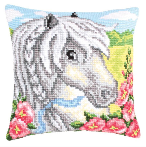 White Horse Printed Cross Stitch Cushion Kit by Collection D'Art