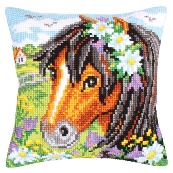 Daisy Chain Printed Cross Stitch Cushion Kit by Collection D'Art