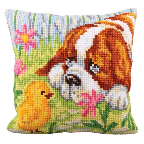Encounter Printed Cross Stitch Cushion Kit by Collection D'Art