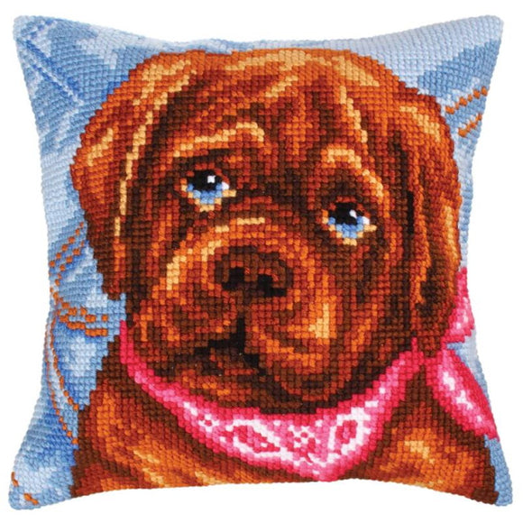 Dogs Melancholy Printed Cross Stitch Cushion Kit by Collection D'Art