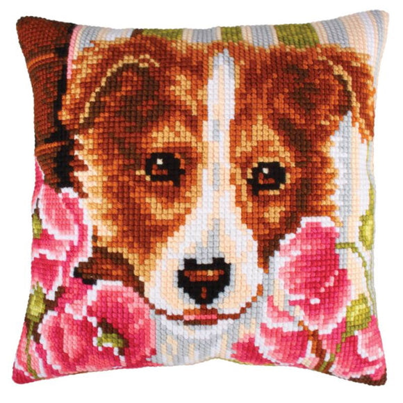 Dog and Pink Poppies Printed Cross Stitch Cushion Kit by Collection D'Art