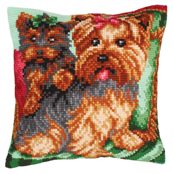 Dogs on the Armchair Printed Cross Stitch Cushion Kit by Collection D'Art