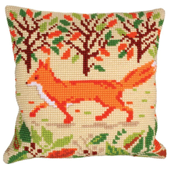 Red Fox Printed Cross Stitch Cushion Kit by Collection D'Art