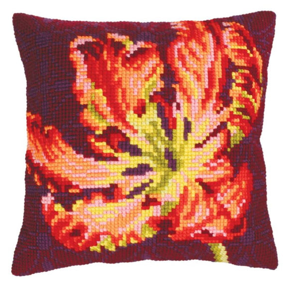Red Tulip Printed Cross Stitch Cushion Kit by Collection D'Art