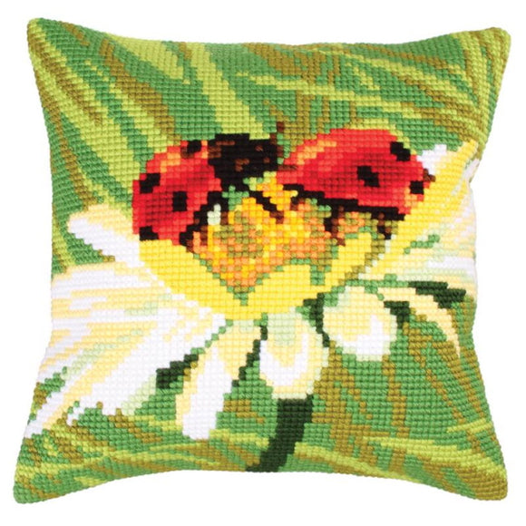Ladybug on Camomile Printed Cross Stitch Cushion Kit by Collection D'Art