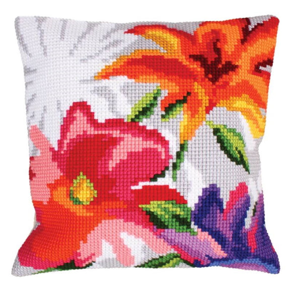 Stylish Flowers Printed Cross Stitch Cushion Kit by Collection D'Art