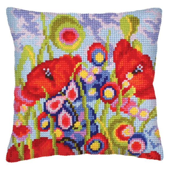 Red Poppies Printed Cross Stitch Cushion Kit by Collection D'Art