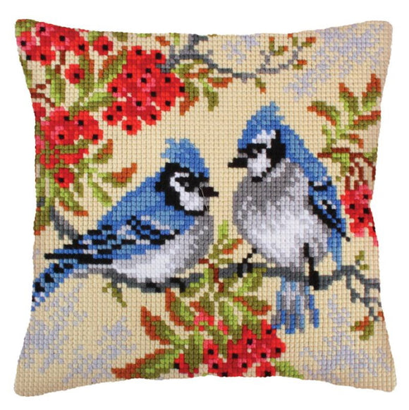 Blue Jays Printed Cross Stitch Cushion Kit by Collection D'Art