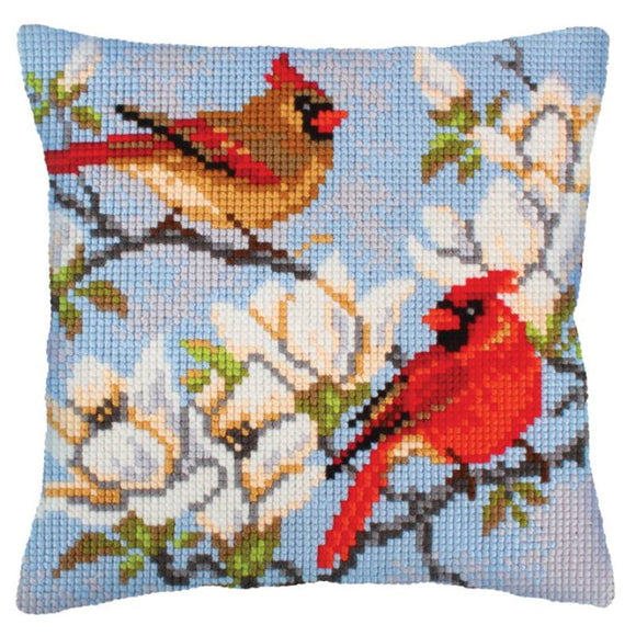 On a Branch of Magnolia Printed Cross Stitch Cushion Kit by Collection D'Art