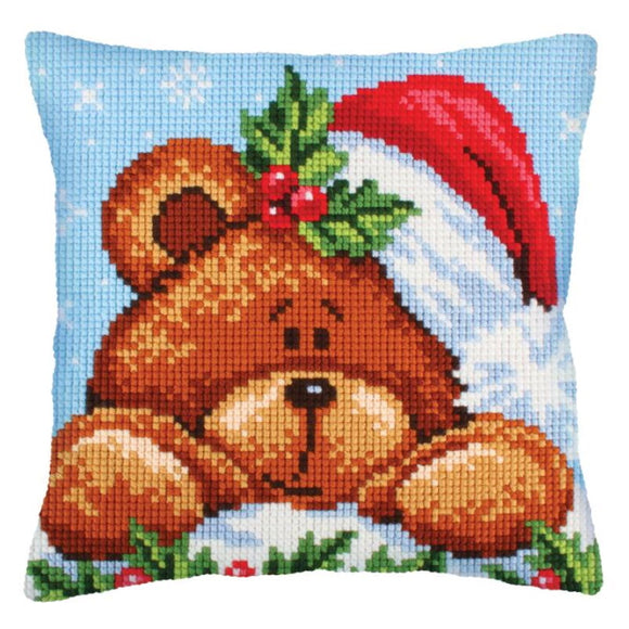 Christmas Teddy Printed Cross Stitch Cushion Kit by Collection D'Art