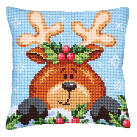 Christmas Fawn Printed Cross Stitch Cushion Kit by Collection D'Art
