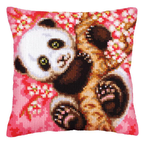 Hooray It's Spring Printed Cross Stitch Cushion Kit by Collection D'Art