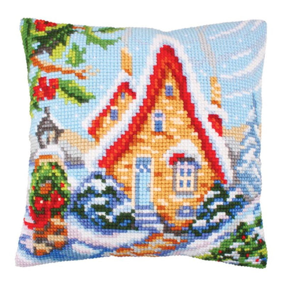 Fairy Cottage Printed Cross Stitch Cushion Kit by Collection D'Art