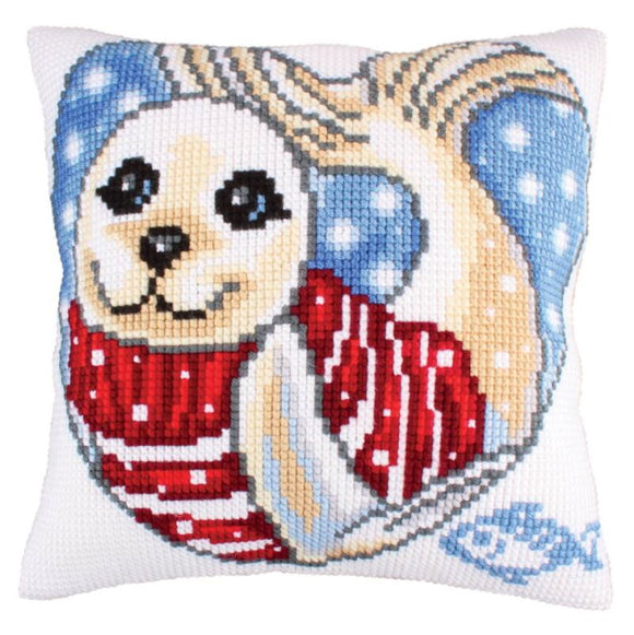 Seal Cub Printed Cross Stitch Cushion Kit by Collection D'Art