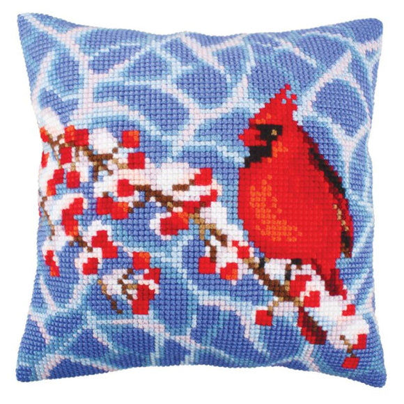 Winter Red Berries Printed Cross Stitch Cushion Kit by Collection D'Art