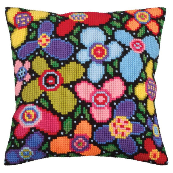 Flower Glade Printed Cross Stitch Cushion Kit by Collection D'Art