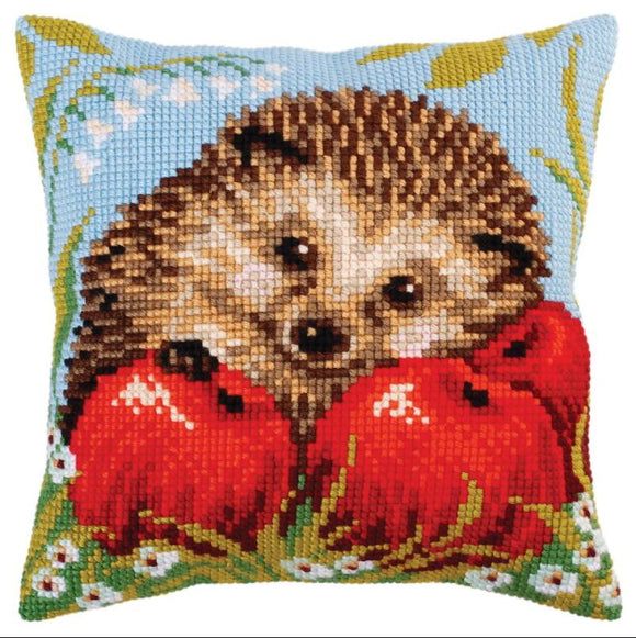 Hedgehog with Apples Printed Cross Stitch Cushion Kit by Collection D'Art