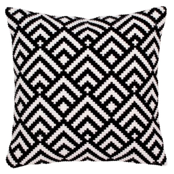 Black and White Printed Cross Stitch Cushion Kit by Collection D'Art