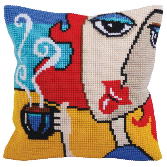 Fragrant Coffee Printed Cross Stitch Cushion Kit by Collection D'Art