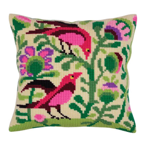 Birds of Paradise Printed Cross Stitch Cushion Kit by Collection D'Art