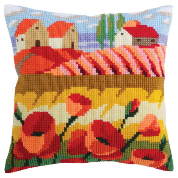 Poppy Field Printed Cross Stitch Cushion Kit by Collection D'Art