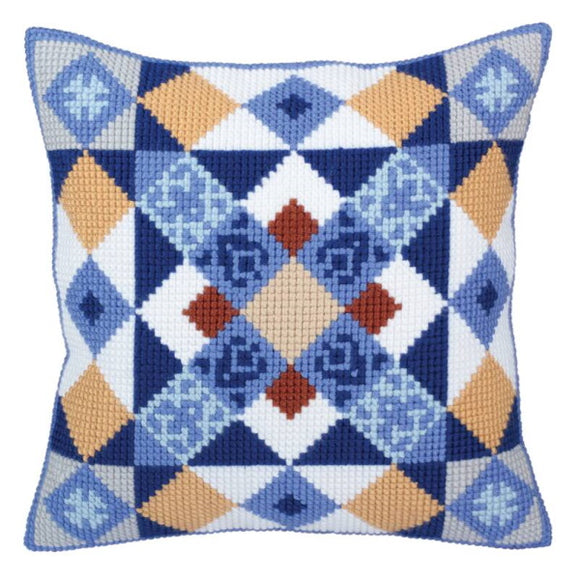 Majolica Printed Cross Stitch Cushion Kit by Collection D'Art