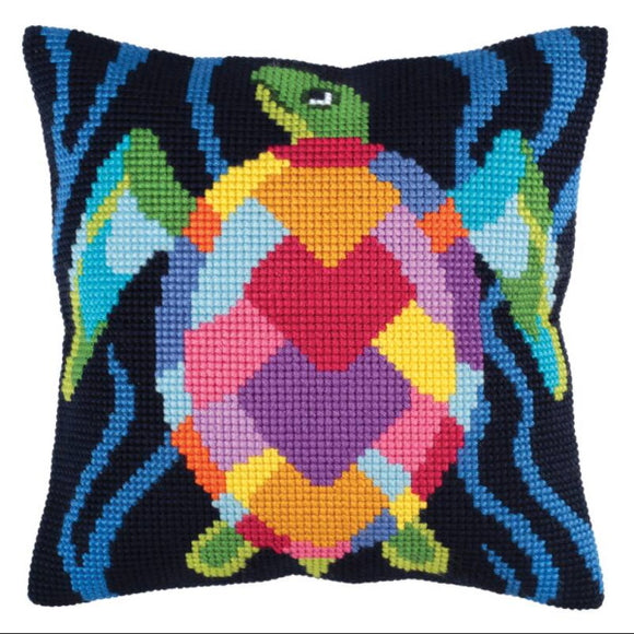 Sea Mosaic Printed Cross Stitch Cushion Kit by Collection D'Art