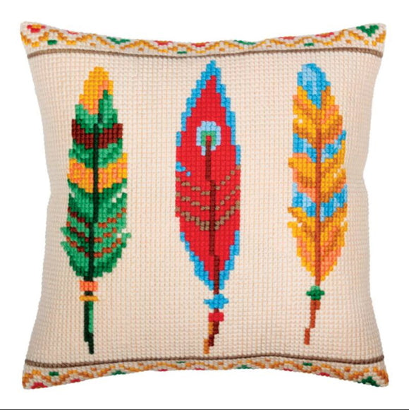Feathers for Dream Catcher Printed Cross Stitch Cushion Kit by Collection D'Art