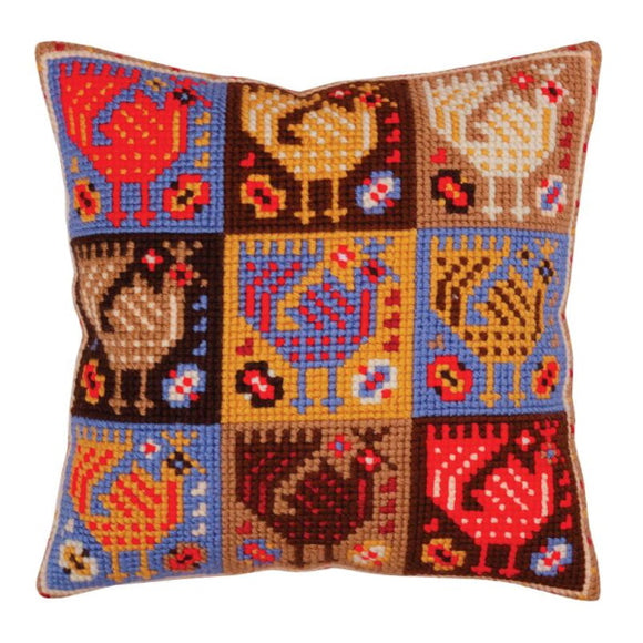 Birds Printed Cross Stitch Cushion Kit by Collection D'Art