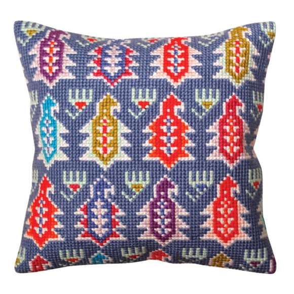 Paisley Printed Cross Stitch Cushion Kit by Collection D'Art