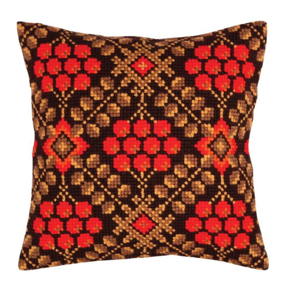 Ashberry Printed Cross Stitch Cushion Kit by Collection D'Art