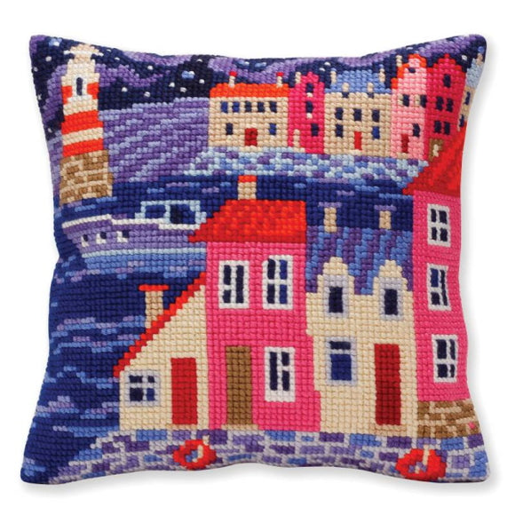 Night Harbour Printed Cross Stitch Cushion Kit by Collection D'Art
