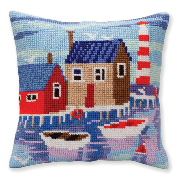 Serene Harbour Printed Cross Stitch Cushion Kit by Collection D'Art