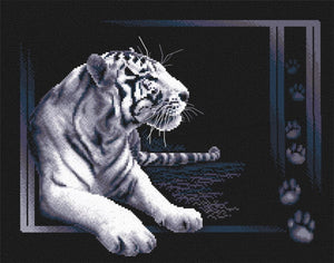 White Tiger Cross Stitch Kit by PANNA