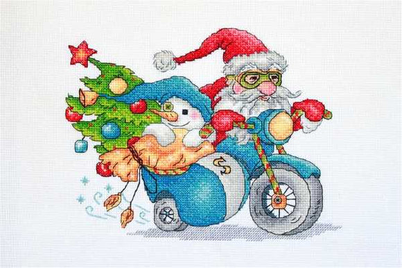 Christmas Racing Cross Stitch Kit by Merejka