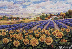Fields of Lavender and Sunflowers Cross Stitch Kit by Merejka