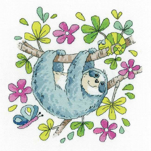 Sloth Cross Stitch Kit by Heritage Crafts