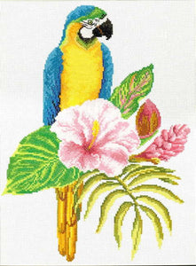 Hibiscus Macaw Printed Cross Stitch Kit by Needleart World