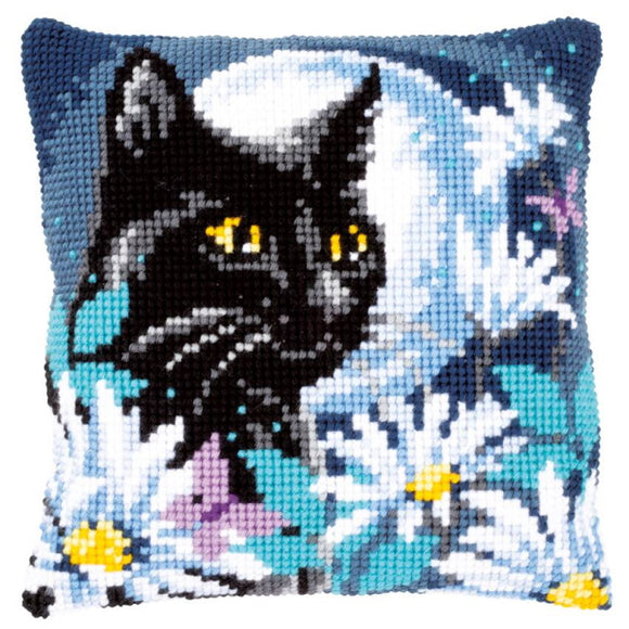 Cat in the Night Printed Cross Stitch Cushion Kit by Vervaco