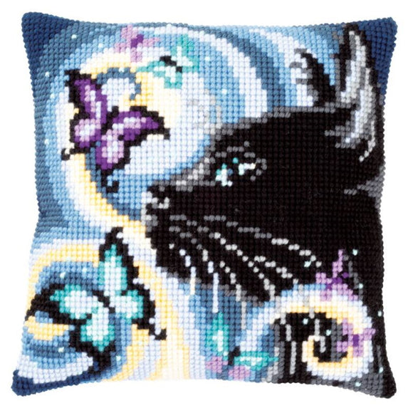 Cat with Butterflies Printed Cross Stitch Cushion Kit by Vervaco