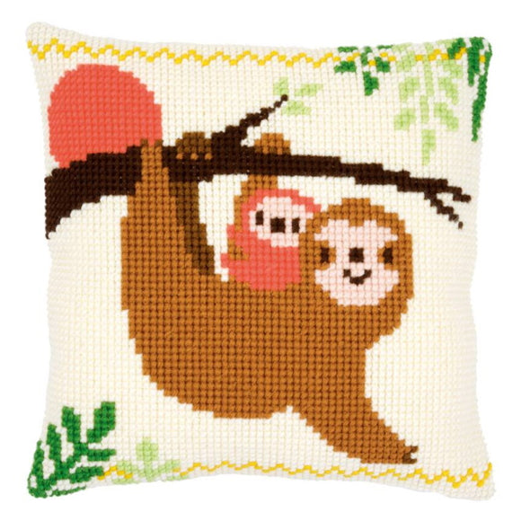 Sloth Printed Cross Stitch Cushion Kit by Vervaco