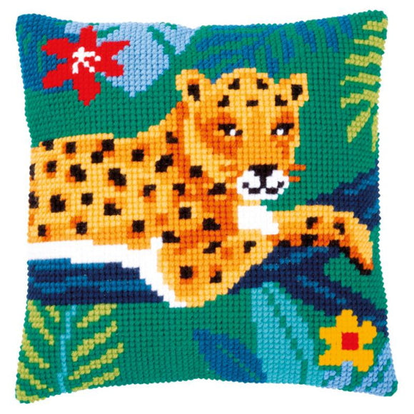 Leopard Printed Cross Stitch Cushion Kit by Vervaco