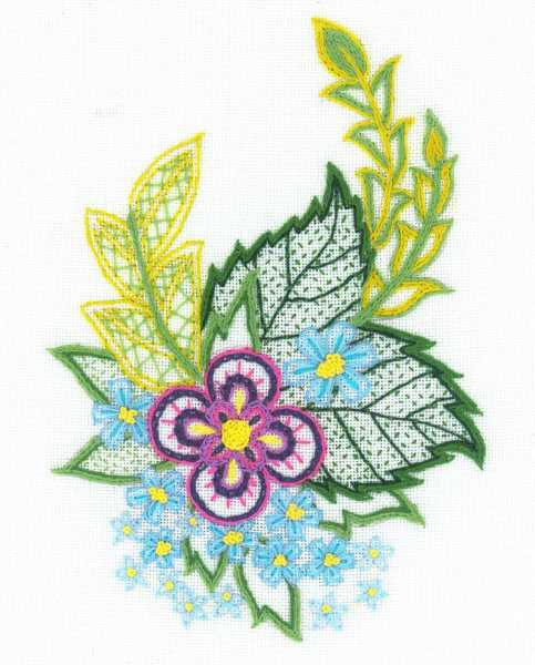 Cornflowers Sketch Embroidery Kit By RIOLIS