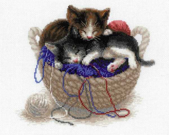 Kittens in a Basket Cross Stitch Kit By RIOLIS