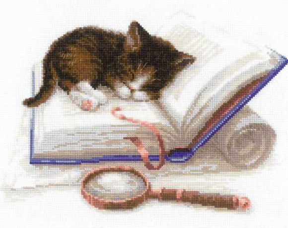 Kitten on a Book Cross Stitch Kit By RIOLIS