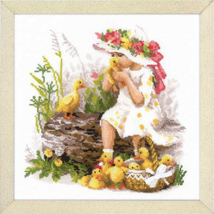 Girl with Ducklings Cross Stitch Kit By RIOLIS