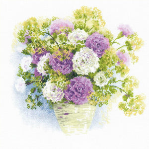 Watercolour Carnations Cross Stitch Kit By RIOLIS